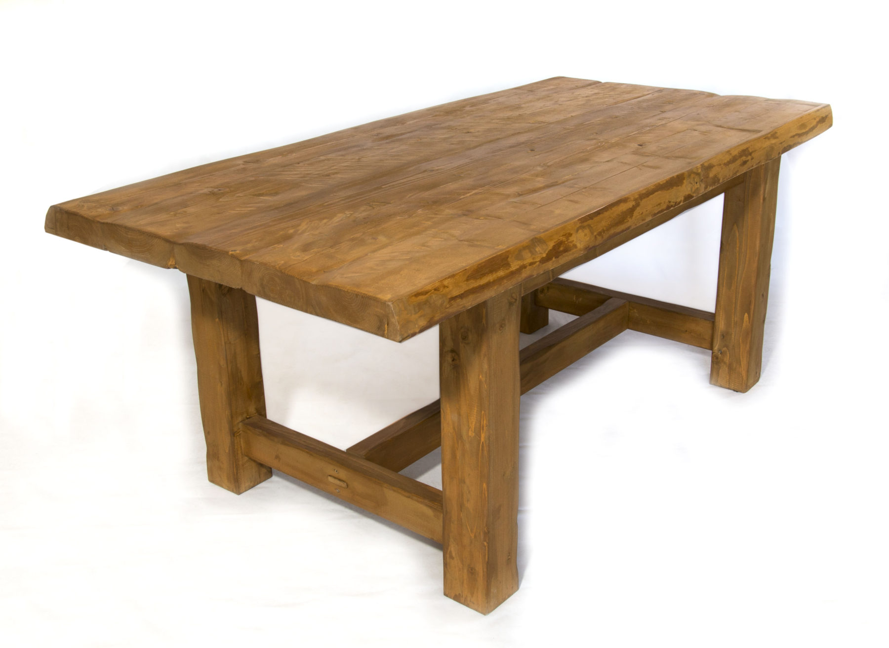 Distressed Pine Live Edge Farmhouse Table Darvo