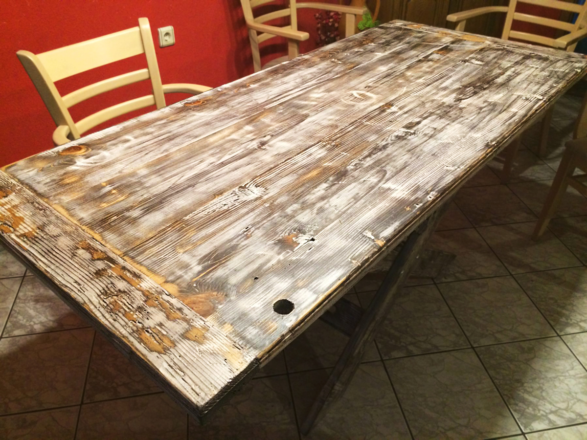 Beau Darvo Salvaged Pine Rustic Farmhouse Table 1